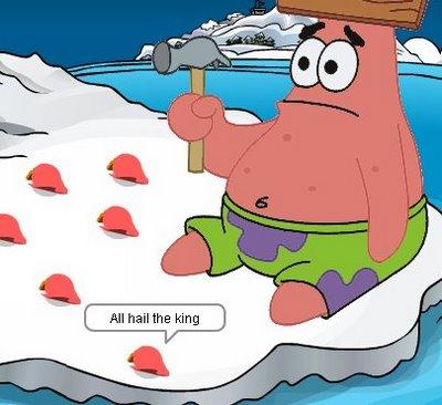 Patrick atacando com um martelo
